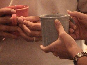 hands and mugs